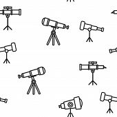 Telescope Icon Seamless Pattern Vector. Spyglass Discover Tool. Astronomy Science Magnify Instrument poster