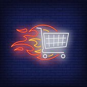Shopping Cart On Fire Neon Sign. Shopping, Discount, Offer, Sale, Supermarket. Hot Sale Concept. Vec poster