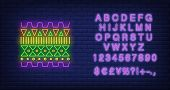 Geometric African Pattern Neon Sign. Pattern, Ethnic Ornament, Decor Design. Night Bright Neon Sign, poster