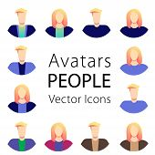 People Avatar Set Vector. Man, Woman. People User Person. Trendy Image. Round Portrait. Group Of Wor poster