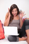 Woman panicking whilst shopping online