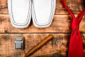 Stylish Leather Shoes On Wooden Background. Groom Ready For Wedding. Menswear And Accessories. Cigar poster