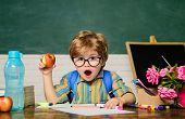 Back To School. Surprised Boy In Glasses. Homework. Lessons. School Subjects. Science. Education Con poster
