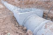 Concrete Drainage Pipe On A Construction Site, Concrete Drainage Tank On Construction Site, Construc poster