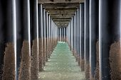 Under Urangan Pier Perspective View. Under A Pier In Hervey Bay (queensland, Australia), Showing The poster