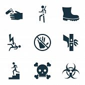 Safety Icons Set With Electrocution Hazard, Bio-hazard, Poison And Other Acid Elements. Isolated Vec poster