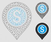Mesh Dollar Bank Pointer Model With Triangle Mosaic Icon. Wire Frame Polygonal Mesh Of Dollar Bank P poster