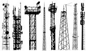 Tv Radio Tower Silhouette Vector. Radio Repeater Isolated Set On White Background poster