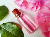 Rose Water For Skincare In Bottle, Fresh Rose Flowers - Floral Hydrosol Pure Natural Extract. Rose W poster