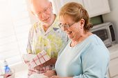 Senior Adult Couple Having Fun Washing Dishes Together Inside Kitchen of Their House. poster