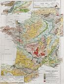 France geological map. By Paul Vidal de Lablache, Atlas Classique, Librerie Colin, Paris, 1894 (firs