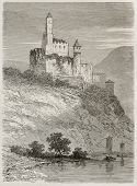 Burg Hornberg old view, Germany. Created by Stroobant, published on Le Tour Du Monde, Paris, 1867