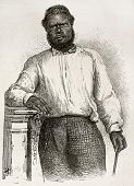 Chatton old engraved portrait (Kanak native's school teacher in Noumea, New Caledonia). Created by Loudet after photo by unknown author, published on Le Tour Du Monde, Paris, 1867