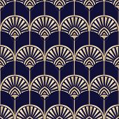 Golden Art Deco Abstract Palms On Dark Blue Vector Seamless Pattern. Abstract Egyptian Geometric Bac poster