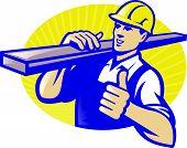 Carpinteiro Lumberyard trabalhador polegares acima