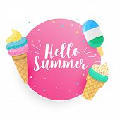 Hello Summer Icecream Background Design Vector Illustration poster