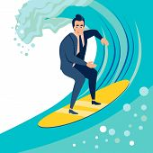 Businessman, A Man Catches A Wave On A Surf Board. In Minimalist Style. Cartoon Flat Vector poster