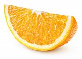 Single Slice Of Orange Citrus Fruit Isolated On White Background With Clipping Path. Full Depth Of F poster