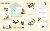 Wedding Tropic Exotic Floral Summer Gold Invitation Card Save The Date Envelope Rsvp Menu Table Desi poster