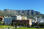 Table Mountain South Africa With Historical Buildings In The Foreground