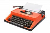 Red Typewriter With Danish Keyboard Layout Isolated On White Background. Side View poster