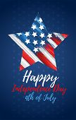 Happy Independence Day 4th Of July. United States Of America Day Greeting Card. American Flag Symbol poster