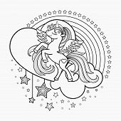 Cute, Cartoon Unicorn With Heart, Rainbow And Stars. Black And White. Linear Drawing. For Cutting, D poster