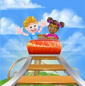 Cartoon Boy And Girl Riding On A Roller Coaster Ride At A Theme Park Or Amusement Park poster
