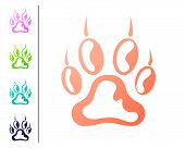 Coral Paw Print Icon Isolated On White Background. Dog Or Cat Paw Print. Animal Track. Set Color Ico poster