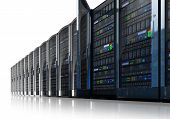 foto of mainframe  - Row of network servers in data center isolated on white reflective background - JPG