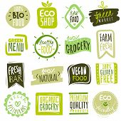 Organic Food Labels. Natural Meal Fresh Products Logo. Ecology Healthy Farm Bio Food Vector Green Pr poster