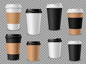 Paper Coffee Cups Set. White Paper Cups, Blank Brown Container With Lid For Latte Mocha Cappuccino D poster