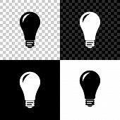 Light Bulb Icon Isolated On Black, White And Transparent Background. Energy And Idea Symbol. Lamp El poster