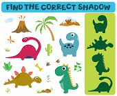 Find The Correct Shadow: Adorable Dinosaurs Isolated On White Background. Dinosaur Footprint, Volcan poster