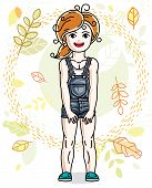 Pretty Little Redhead Girl Standing On Background Of Autumn Landscape And Wearing Different Casual C poster
