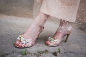 Beautiful Transparent With Butterfly Pin Shoes For The Prom. Prom Ideas poster