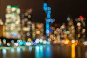 Blurred background Chicago downtown Cityscape skylines and skyscrapers office building with Lake Mic poster