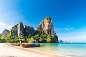 Long Tail Boat On Tropical Railay Beach, Aonang, Krabi, Thailand poster