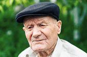 Old Senior Portrait. Grandparent In Hat. 90 Plus Year. Portrait: Aged, Elderly, Loneliness, Man With poster