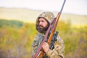 Bearded Hunter Rifle Nature Background. Experience And Practice Lends Success Hunting. Hunting Big G poster