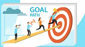 Path To Goal, Goal Achievement, Motivation For Success. People Run Up The Arrow To The Goal. Vector  poster