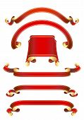 set of 5  red ribbon banners