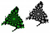 Community Of Madrid (kingdom Of Spain, Autonomous Community) Map Is Designed Cannabis Leaf Green And poster