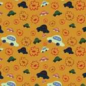 Baby Seamless Background With Cars And Abstract Flowers