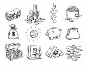 Sketch Of Finance Money Set. Sack Of Dollars, Stack Of Coins, Coin With Dollar Sign, Treasure Chest, poster