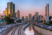 Skyline of Ramat Gan and the Ayalon Highway, the Financial District near Tel Aviv, Israel.