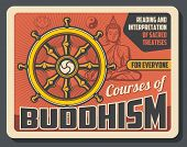 Buddhism And Dharma Enlightenment, Religious Treatise Teaching, Reading And Interpretation Poster. V poster