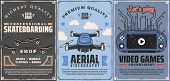 Professional Skateboarding Accessories, Decks And Wheels Parts Sports Store Vintage Poster. Vector A poster