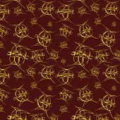 Seamless Bright Pattern On Brown Background