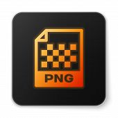 Orange Glowing Png File Document Icon. Download Png Button Icon Isolated On White Background. Png Fi poster